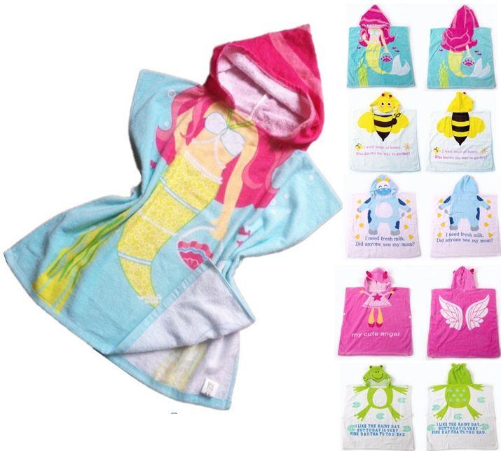 Kids Cartoon Mermaid Animal Princess Hooded Bath Towel 100 Cottton
