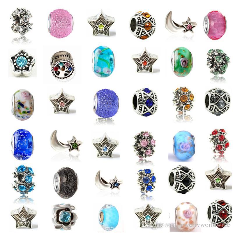 Misture Liga De Cristal Charme Retro Grande Buraco De Vidro Talão Com 925 Selo Moda Feminina Jóias Estilo Europeu Para Pandora Pulseira Promoção