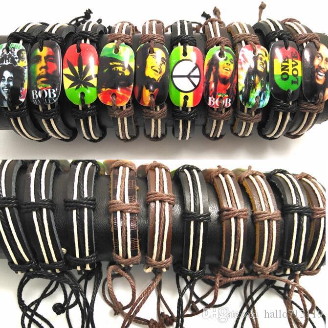 Bob Marley Bracelets en cuir Hommes Légende Jamaïque Bracelets Punk Cool Bangles Gros HOT Bijoux