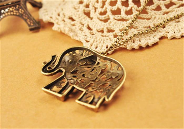 Nuovo modo di vendita caldo fortunato vintage retrò elefante collana maglione catena pendente collane di design speciale fascino MY-124