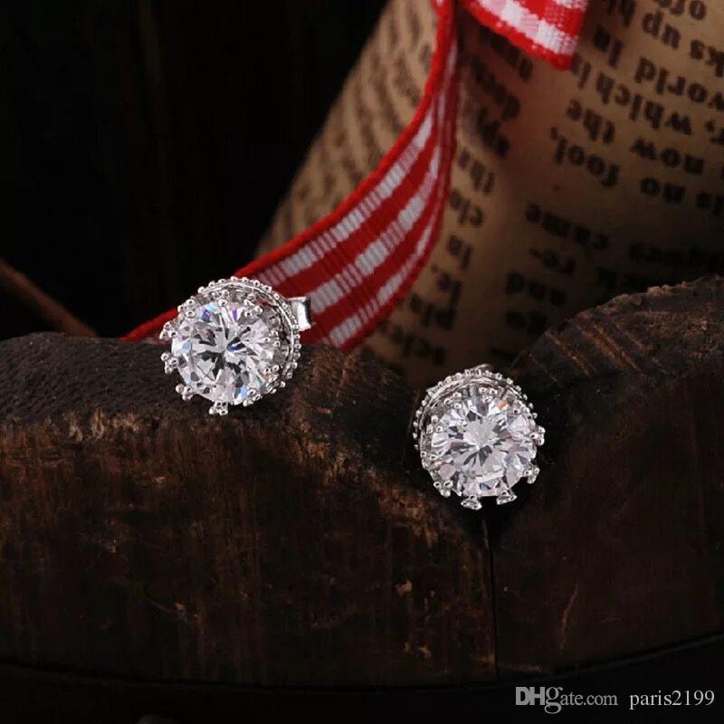 Donne calde di vendita uomini orecchini di cristallo austriaco 925 placcatura in argento sterling 30% bianco oro corona orecchino della vite prigioniera Elemento di fidanzamento