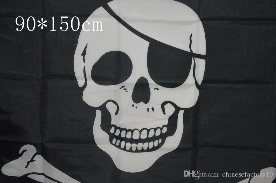 90x150cm большой черный Веселый Роджер пиратские флаги Хэллоуин череп скрещенные кости мечи черные флаги Хэллоуин реквизит 2 конструкции