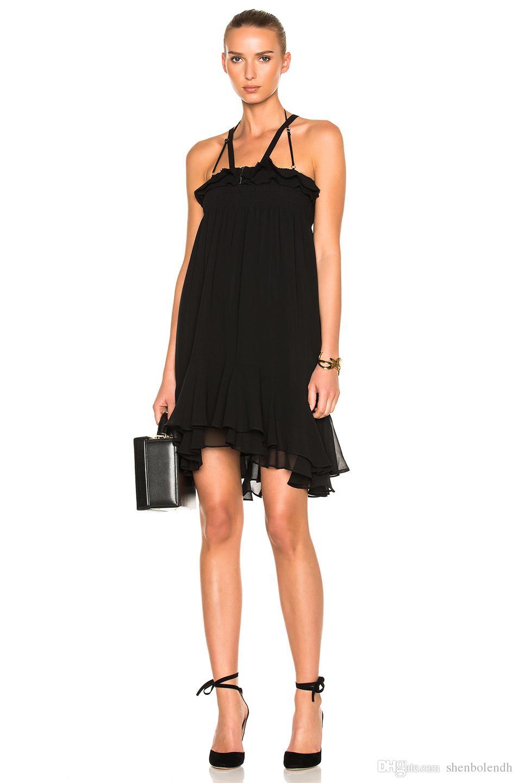 2018 Shenbolen Womens Elegant Chiffon Halter Gown Black Business ...