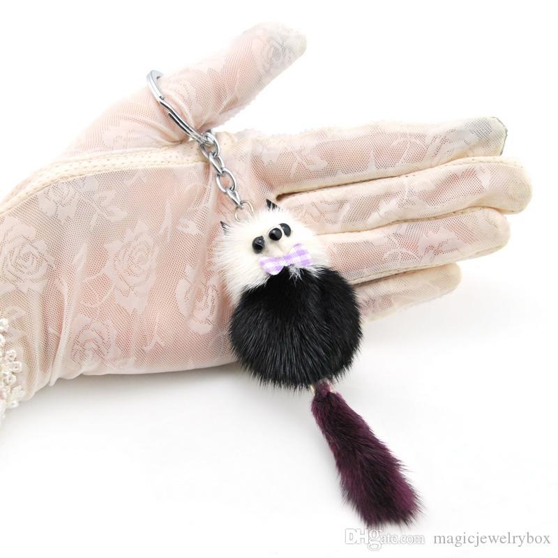 Оригинальный Новый брелок Симпатичные Пушистый Енот Pom Pom брелок Женщины Подлинная Fur Pompom Медведь брелоков игрушки сумка Шарм автомобиля держатель ключа Подарки