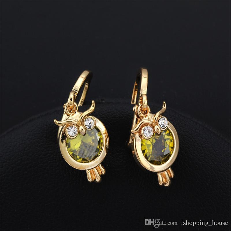 Lovery Earrings 18K Yellow Gold Plated Owl Design Hoops Earrings for Girl Friend for Women Hot Gift