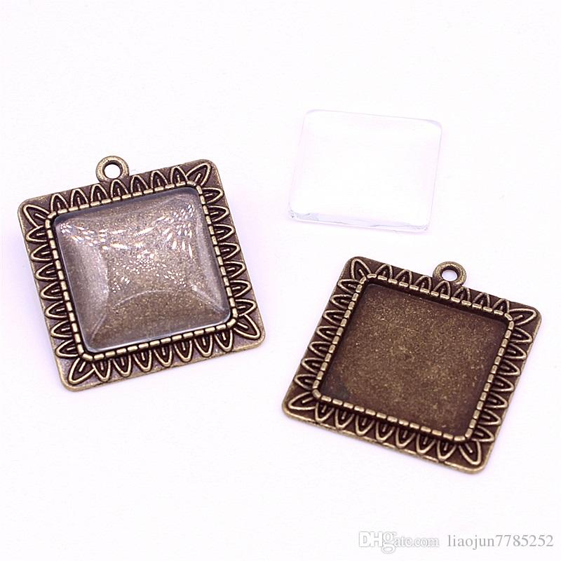 Antique Bronze Square 28*31mmFit 20*20mm dia Pendant Blanks Fit Jewelry Making Charms + Clear Glass Cabochons A4702-1