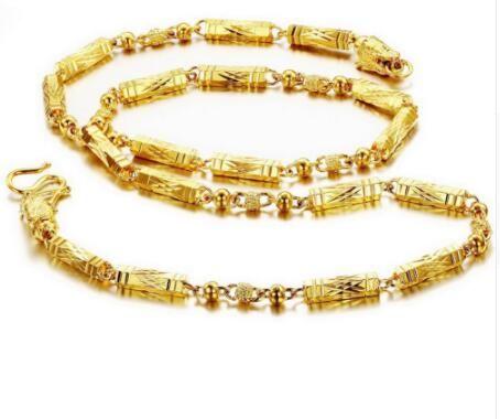 cef1ba8a7ae4 Compre 24 K Chapado En Oro BISUTERÍA De Calidad Superior Collar De Color Oro  Cadena De Diseño Fresco Atractivo De La Joyería De Los Hombres Hombres  Cadenas ...