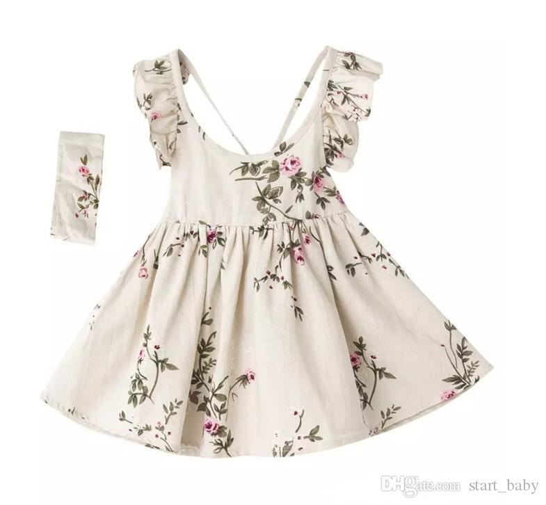 INS baby girl toddler Kids Summer clothes Rose Floral Dress Jumper Jumpsuits Halter Neck Ruffle Lace Shoulder Sexy Back headband C001