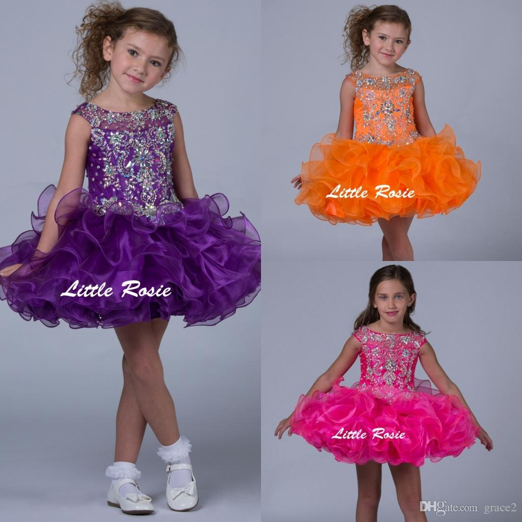 0c3f4a64fc47 Little Rosie Toddler Pageant Dresses 2017 With Cap Sleeves And ...