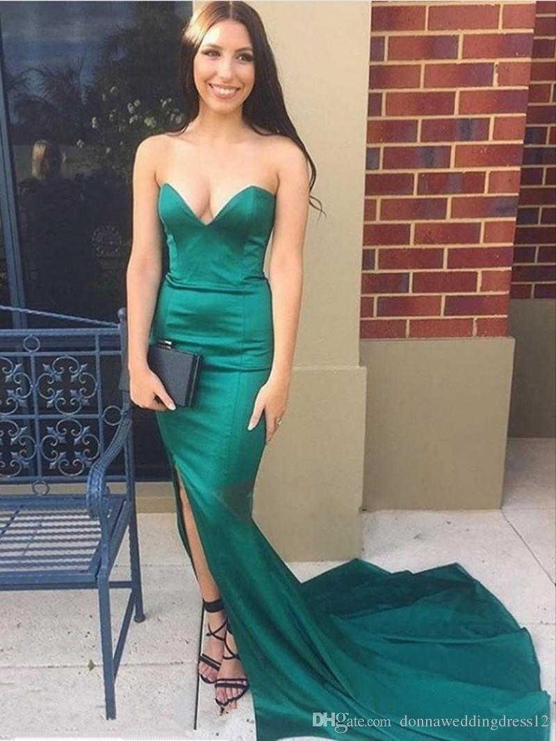 robe de soriee 2017 простой зеленый вечернее платье русалка милая Сплит фронт суд поезд Пром платья партии vestido де феста