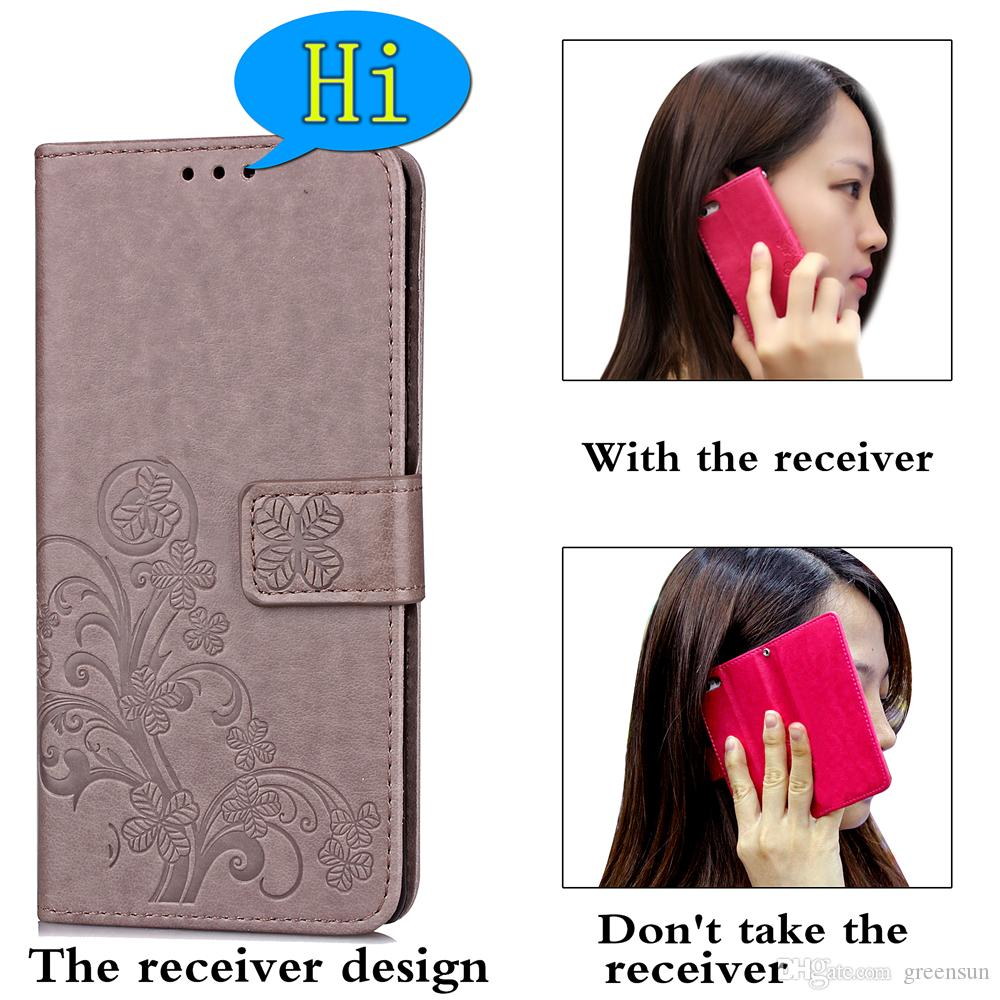 Fashion Lucky Clover Pattern Magnetic Closure Design , Premium PU Wallet Case Flip Cover with Card Holders for LG K10