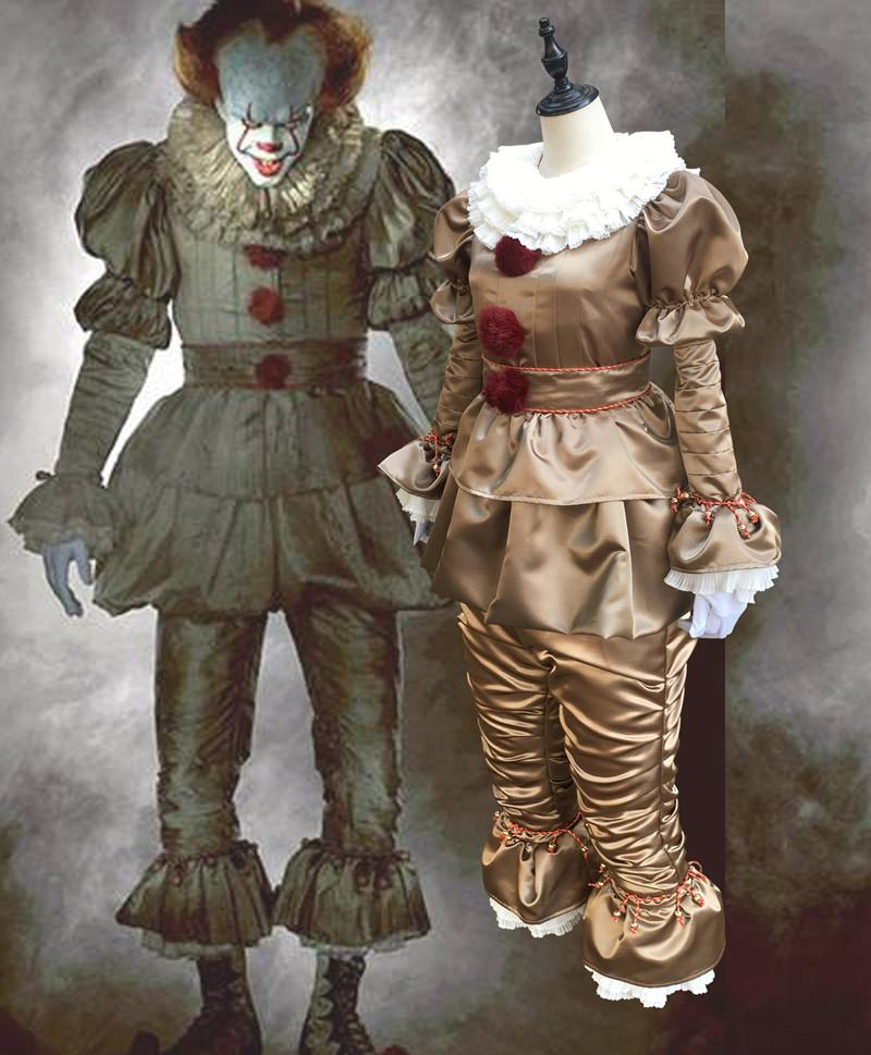 Hot Movie Stephen King's It Pennywise Cosplay Costume Scary Joker Suit Custom Made Fancy Halloween