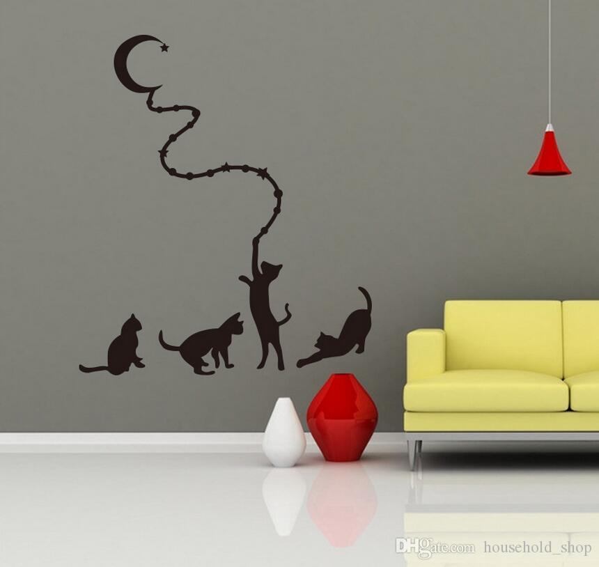 Cat Moon Wall Sticker Mural Decals Cartoon Animal Stickers for Kid Children Rooms Home Decor Hot Sale