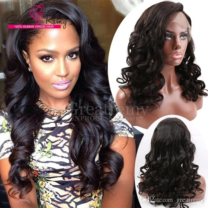 Greatremy® Natural Hairline Brazilian Glueless Full Lace Wig Loose Wave Human Hair 8A Indian Lace Front Wig for Black Women