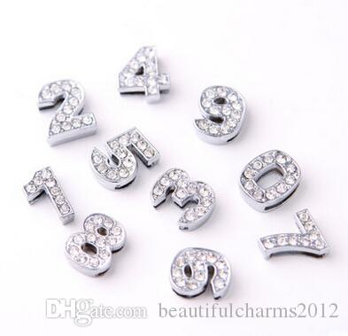 Wholesale 10mm 0 - 9 Number Slide Charm DIY Alloy Accessories fit for 10mm keychains wristband