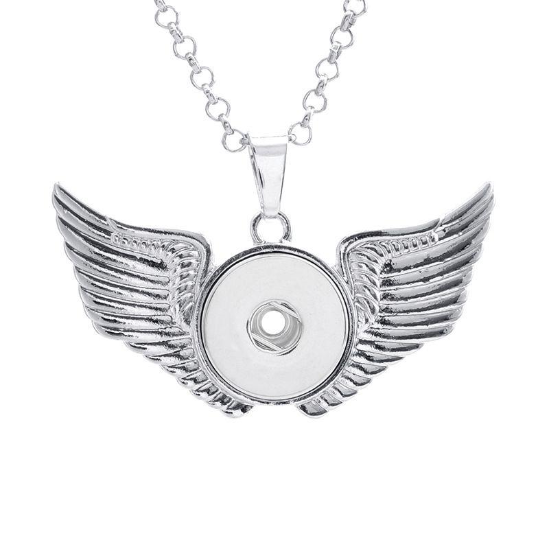 Крылья ангела Нуса имбирь Оснастки кнопка ожерелье из нержавеющей стали цепи ожерелье DIY 18 мм кнопки куски заявление Vocheng ювелирные изделия