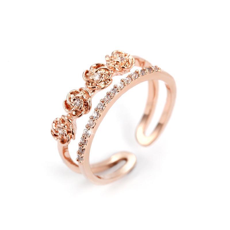 20bf48ef0207 2 unids / lote elegante rosa de oro plata anillos abiertos para las mujeres  femme accesorios de la joyería del banquete de boda anillo ancho