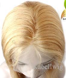 Luxus Mode Perücke Brasilien Reines Haar 100% Menschlicher Rumpf VOLLE SPITZE PERÜCKEN Nahtlose Dichte 150% Haar Glatte Haarfarbe Goldene Farbe # 27 Kabell