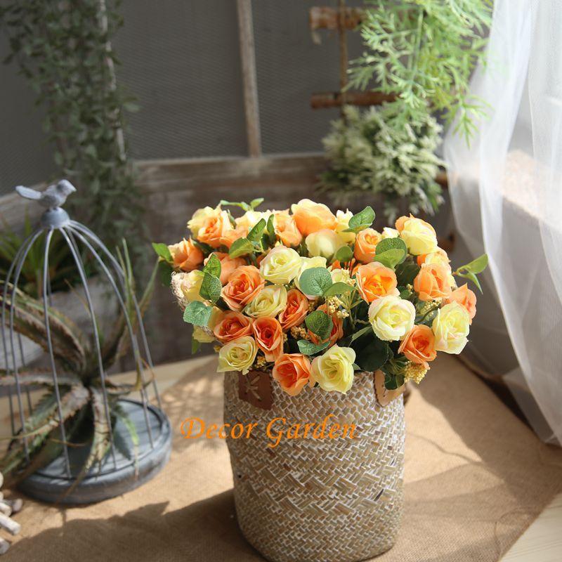 Artificial Silk Rose Bouquet Charming Artificial Flower Bouquet Wedding Decorations For Wedding Home Hotel Desk Decor Decoration MW46961