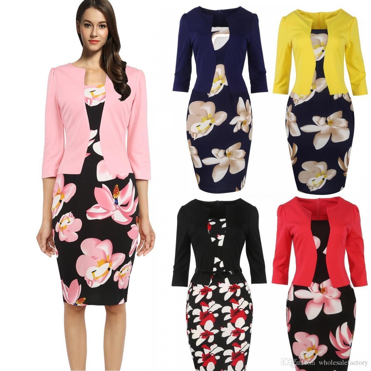 6ed3b11b4 Compre Venda Quente Vestidos 2017 Mulheres Outono Floral Lápis Vestido  Bodycon Escritório Senhoras Vestidos Bandage Trabalho Elegante 4XL Plus  Size FS0671 ...
