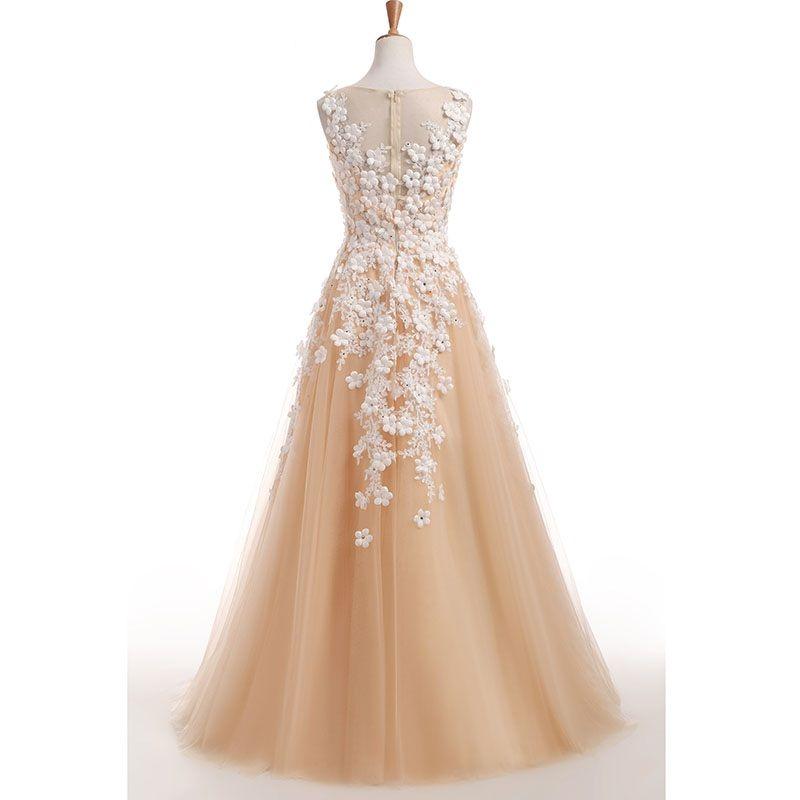 Tank V cuello sin mangas Champagne una línea de vestido de novia de encaje apliques de flores vestidos de novia vestidos de novia 2017 Robe de Mariage
