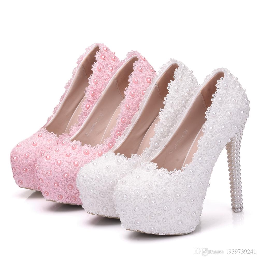 f7825deb0c2f Crystal Queen White Wedding Pumps Sweet White Flower Lace Pearl ...