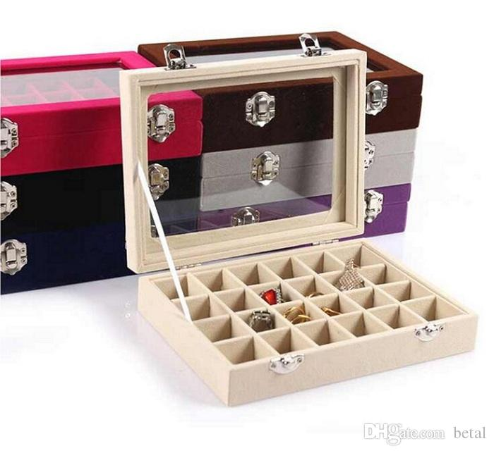 24 Grids Ice Velvet Jewelry Storage Cases Ring Earring Box Bracelet Organize Box Bangle Holder Jewelry Display With Glass Cover