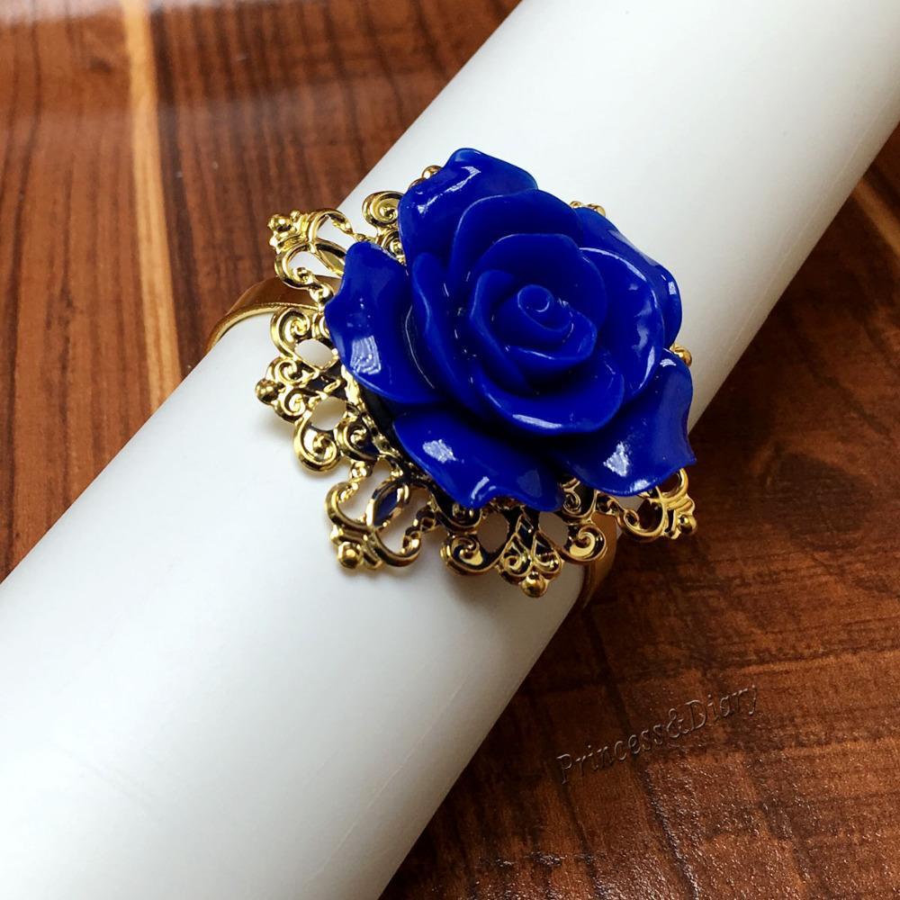 Wholesale Dark Blue Rose Flower Decor Gold Napkin Ring Holder Hoops