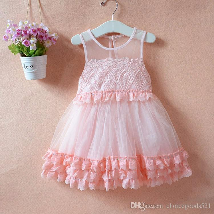 6bf6589ae7217 New Arrival Summer Girls Sleeveless Dress Embroidery Princess Lace Dress  Classic Flowers For 2~7 Year Kids 5 p/l