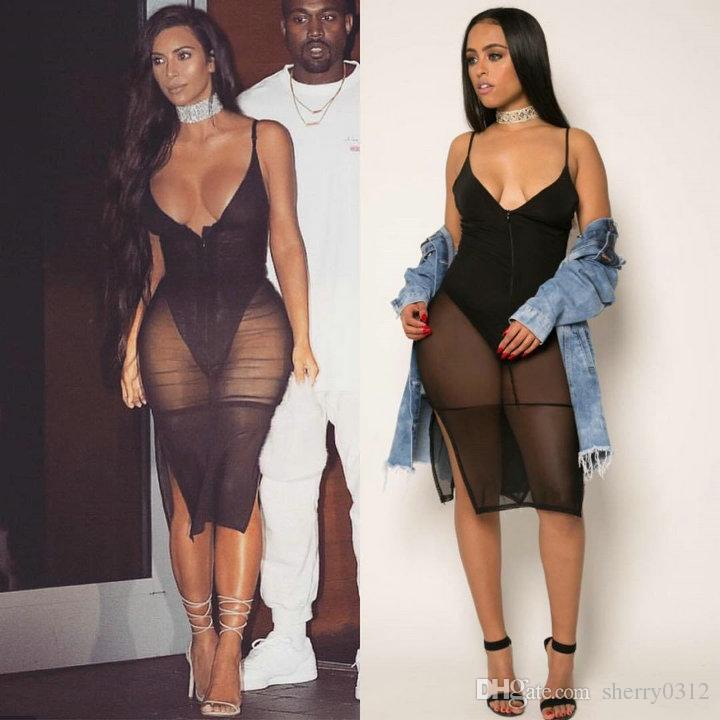 5d36ef812ad6 2019 Black Mesh Bandage Jumpsuit Womens Bodycon Bodysuit Sheer Patchwork  Perspective Femme Night Club Wear Deep V Neck Vest Short Romper Bodysuit  From ...