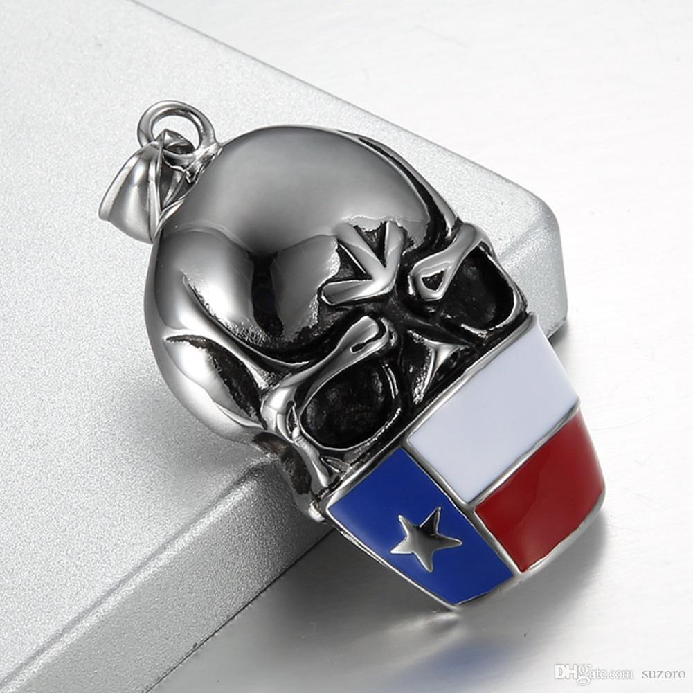 Europe and the United States men's stainless steel jewelry necklace pendant titanium Skull Punk hip-hop American flag