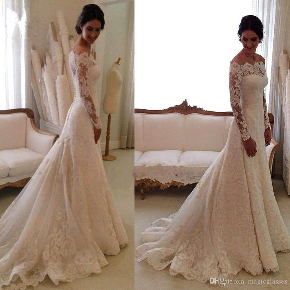 2017 Modest Sheer Long Sleeves Wedding Dresses Court Train Off-Shoulder Appliqued A Line Vintage Full Lace Bridal Gowns Covered Buttons Back