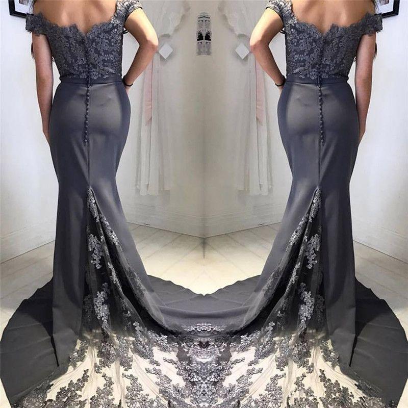 Champanhe Longo Sereia Vestidos de Dama de Honra 2019 Sexy Off the Shoulder Lace Apliques País Vestido de Festa de Casamento Plus Size Maid of Honor vestido