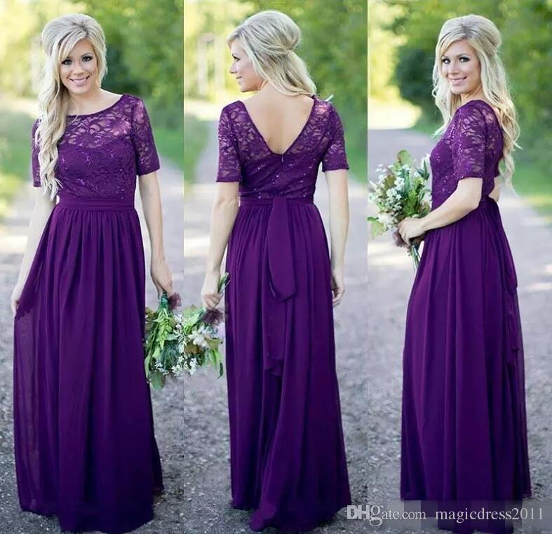 Encantador Vestidos De Las Damas De Color Morado Embellecimiento ...