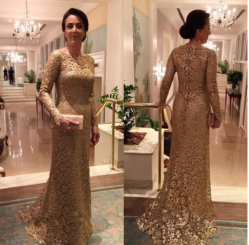 Sexy Full Lace Gold Mother Of The Bride Dress Long Sleeves Wedding ...