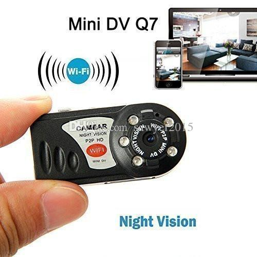 Q7 مصغرة DV WiFi IP كاميرا فيديو لاسلكية كاميرا فيديو كام ir للرؤية الليلية pc webcamera p2p مصغرة dv dvr مع مربع التجزئة