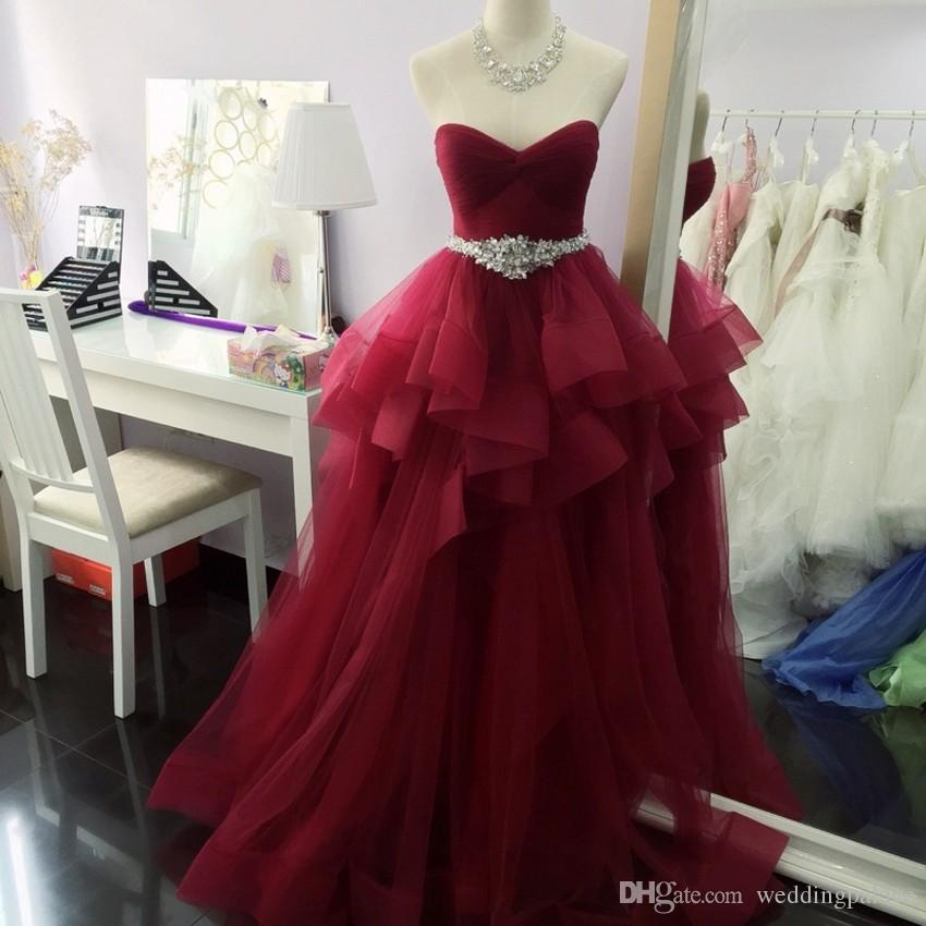 Hot Sale Elegant Sweetheart Wine Red Long Prom Dresse Pleats Beaded Formal Prom Gowns Robe De Bal Party Dresses Evening Dresses