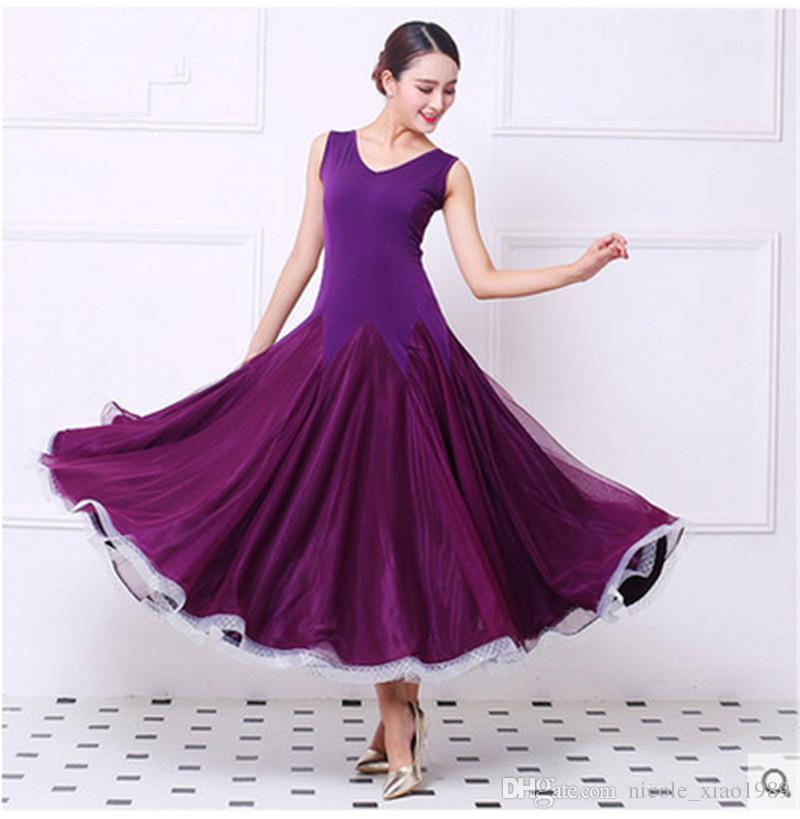 e06aa87009e63 2019 2017NEW Modern Dance Dress Women Elegant Sleeveless Waltz Tango  Foxtrot Quickstep Costume Competition Clothing Standard Ballroom Dance  Skirt From ...