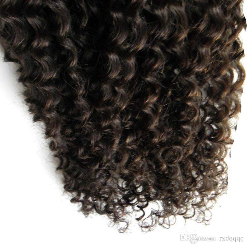 100g Natural Color human hair extensions kinky curly micro loop human hair extensions 100% Indian Virgin Remy Human Hair 1g