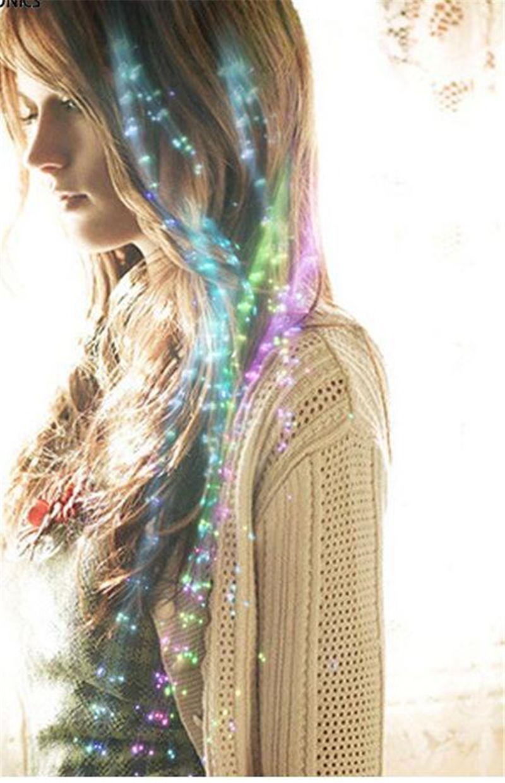 Luminous Light Up СВЕТОДИОДНЫЕ Волосы Огни Вспышки Ночные Огни Оплетка Для Партии Сувениры Зажигать Игрушки С Мигающим Волоконно-Оптический Удлинитель