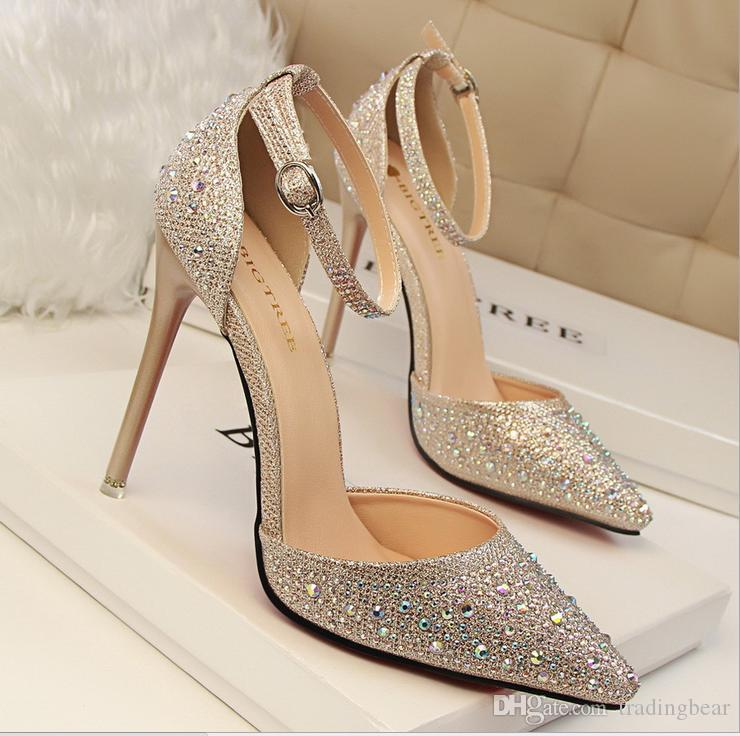 Sexy Glitter Pointed Toe Ankle Strap D'orsay Stietto Heels party Evening Shoes Gold Silver