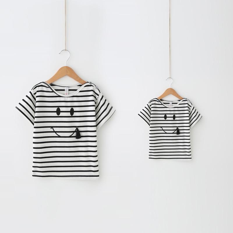Aile Eşleştirme Kıyafetler, bebek ve anne tişört, kız Çizgili t-shirt ceket, Anne ve bebek Çocuk giyimi, Kız Giyim