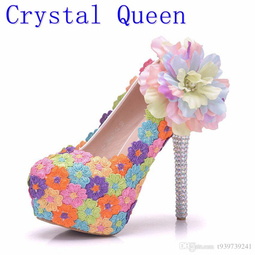 Crystal Queen Handmade Women Wedding Shoes Round Colorful Lace Flowers High  Heel Elegant Bridal Dress Shoes Prom Pumps Boots Shoes White Mountain Shoes  From ... ab0fb1f2d7a4