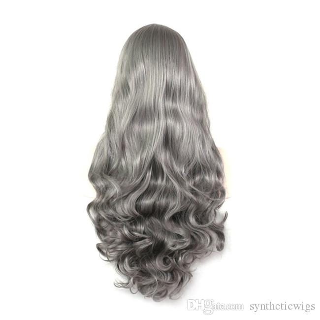 WoodFestival long wavy wig grey cosplay high temperature wig synthetic curly fiber wigs natural lolital hair wigs Average size 70cm