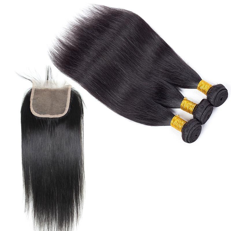 Los mejores paquetes del pelo humano peruano de la mejor venta con el cierre superior del cordón El pelo peruano teje el cierre Extensiones baratas al por mayor del pelo Envío libre