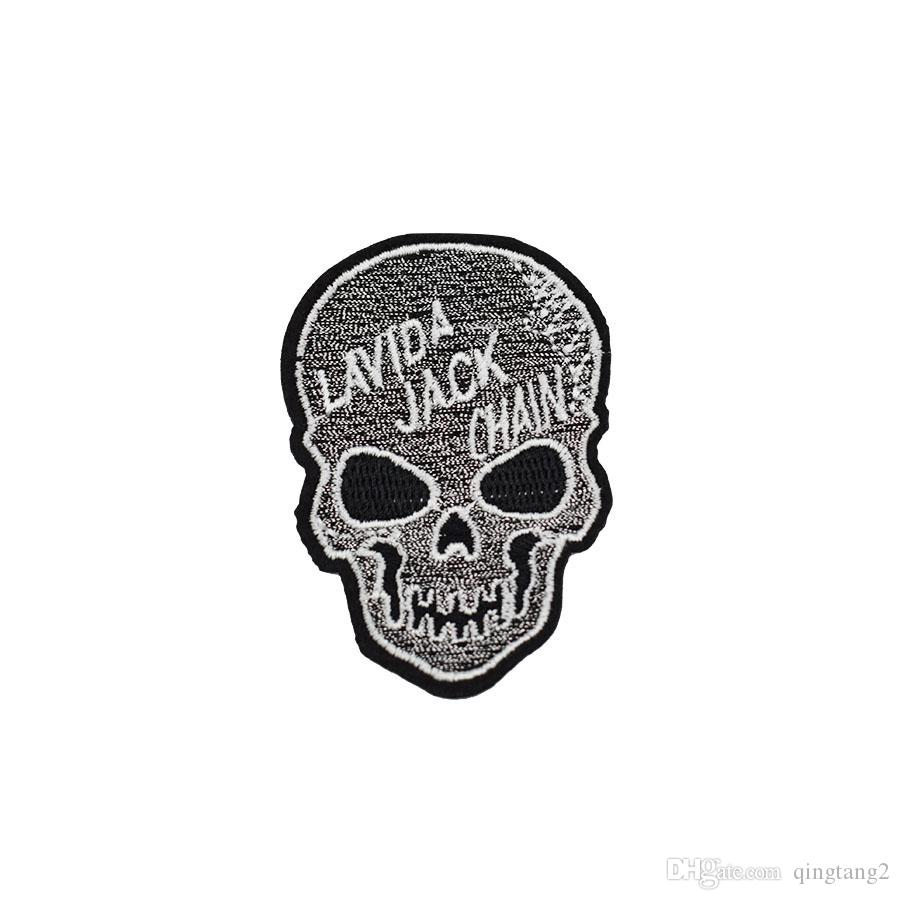 parches de bordado de cráneo para la ropa parche de hierro para la ropa apliques accesorios de costura pegatinas insignia en la ropa de hierro en parches de bricolaje