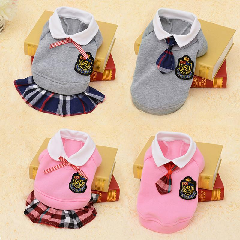 2018 School Style Pet Dog Clothes Cute Chihuahua Coat Costume Puppy