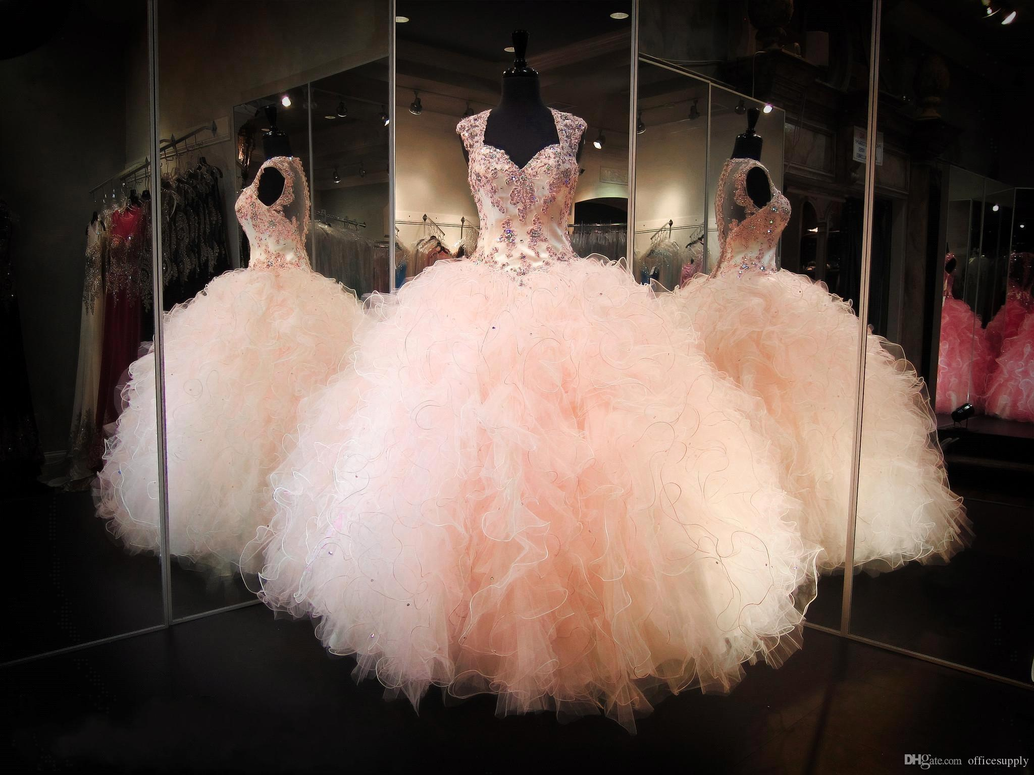 Blush Ball Gown Wedding Dress: Blush Peach Backless Ball Gown Prom Party Dresses 2017