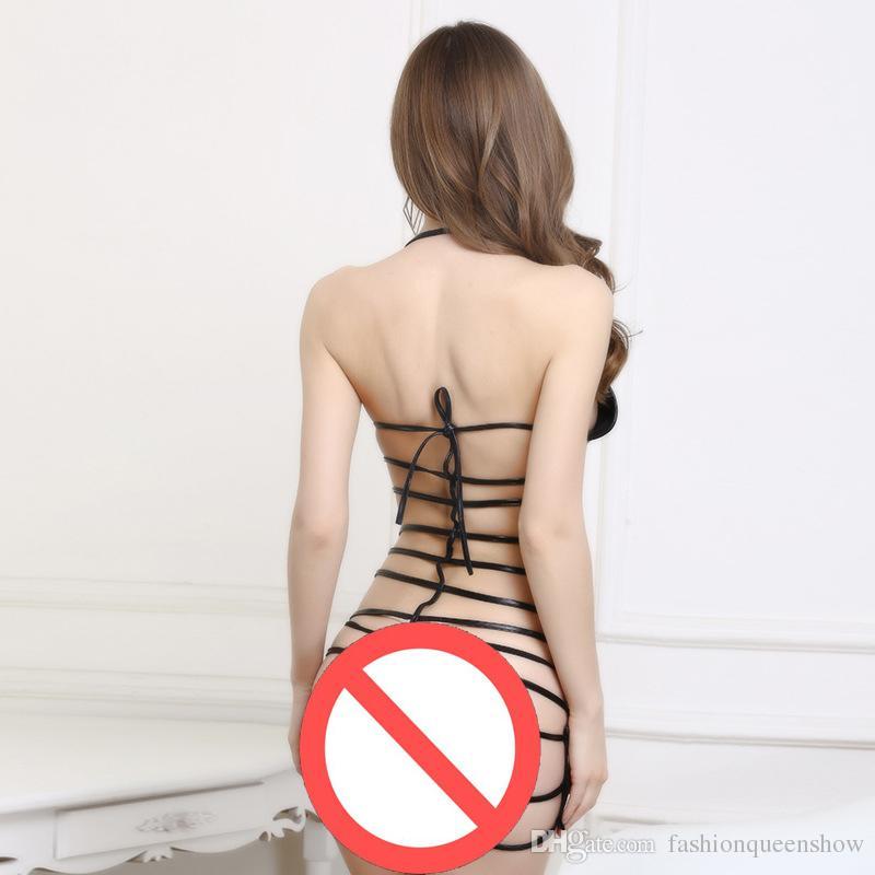 Sexy Ladies Halter mini abito cinghie indietro benda Club Stripper Wear-doll Erotic cut-out Underwear
