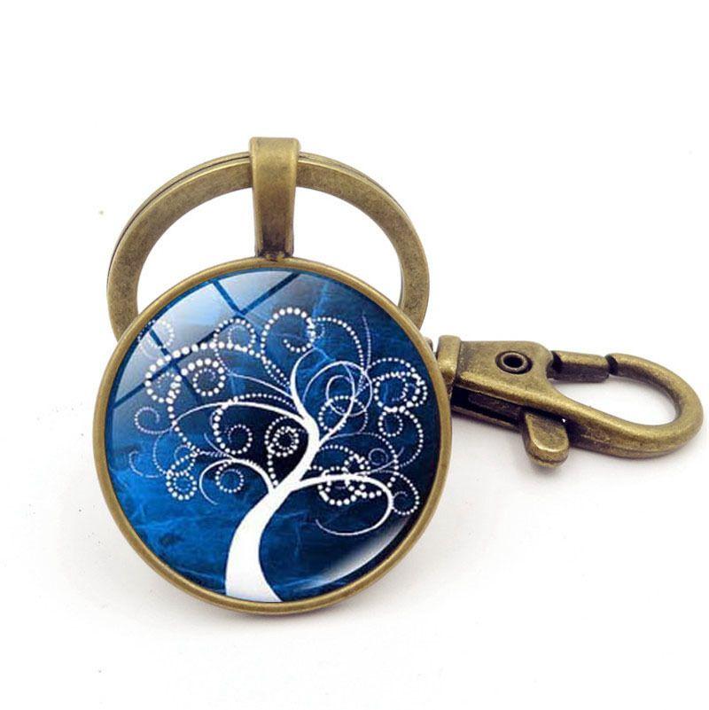 Good A++ Hot Life Tree Pendant Keychain Time Gemstone Key Ring Custom KR235 Keychains a